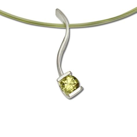 Lemon Quartz Serpentine pendant, amazing lemon geen color gemstone in simple design necklace