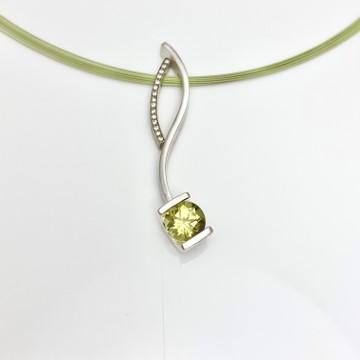 Lemon Quartz and Diamond curve pendants in a combination for necklace