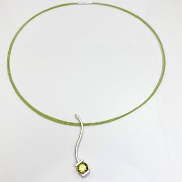 Lemon Quartz necklace with the matching color neck wire