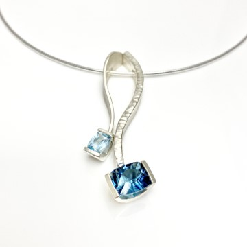 London blue topas together with Aquamarine for a blue range of colors in the same necklace