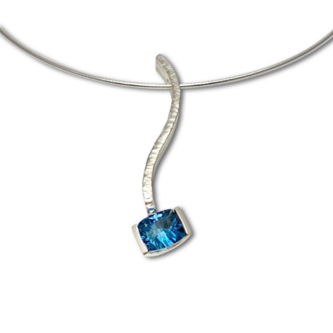 London blue topaz serpentine pendant, designed to be combined with several colors