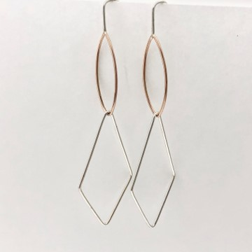 Marquise and rhombus shapes earrings , geometry earring collection