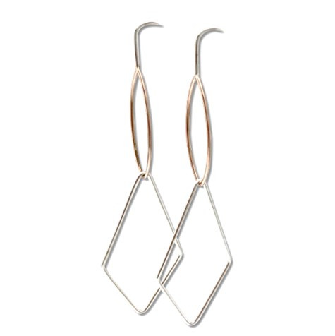 Marquise earring dangle 14k rose gold and sterling silver light weight earring dangle