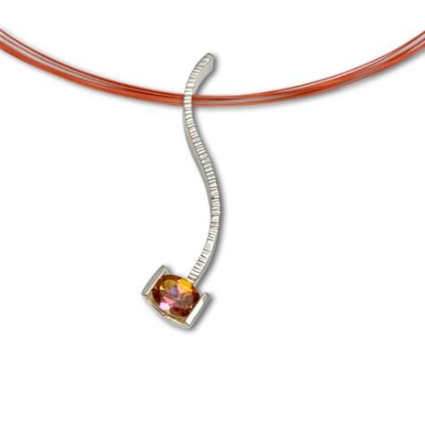 Mystic Topaz Serpentine Pendant, Orange interesting color for a stunning fire effect