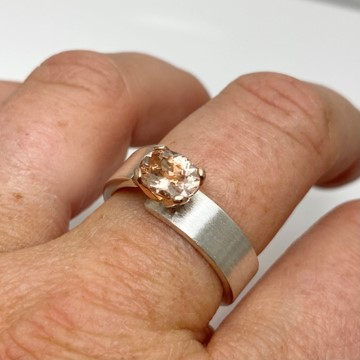 Pink morganite Unlined designed ring, silver and rose gold