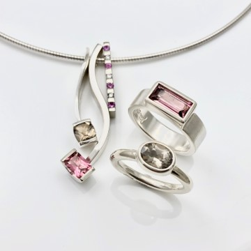 Pink tourmaline and smokey quartz jewelry combinations in brown and pink