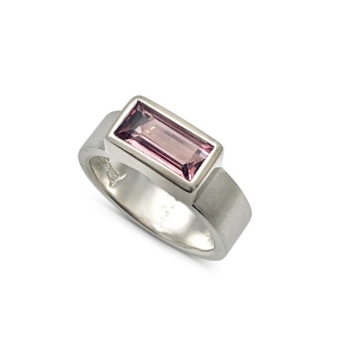 Pink tourmaline bezel across ring, suitable for the stack rings or by it self