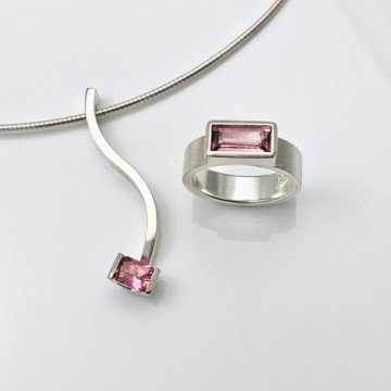 Pink tourmaline ring and combination serpentine pendant
