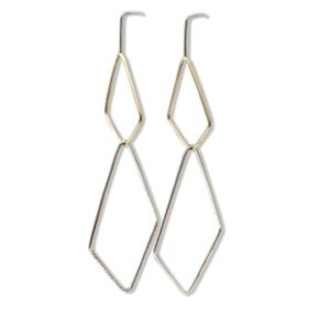 Quadrangle earring Dangle in silver and 14k yellow gold