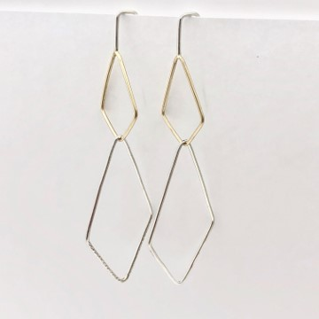 Quadrangle shapes in gold and silver dangle earrings