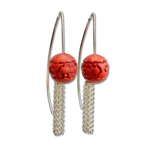 Red bead tassel earring with man made bead carved resin material