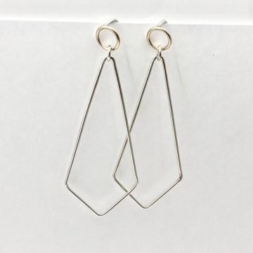 Rhombus with small circle dangle earrings