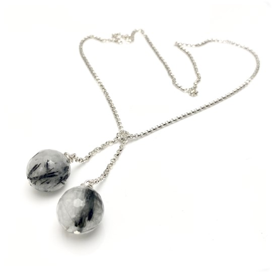 Rutilated tie chain necklace, black and white quartz
