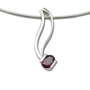 Sleek Mozambique Garnet pendant, oval cut gemstone in deep red color, January birthstone
