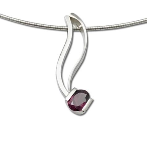 Sleek Mozambique Garnet pendant, oval cut gemstone in deep red color, January birthstone