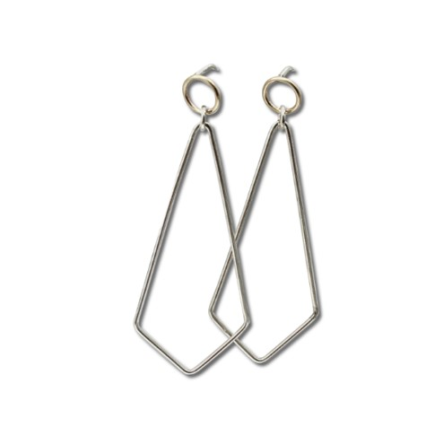 Small circle Rhombus earring in gold and silver, handmade