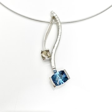 Smokey Quartz delicate pendant in combo with Blue topaz serpentine pendant
