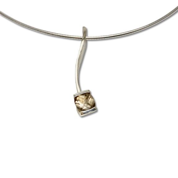 Smokey quartz delicate combination pendant in short version