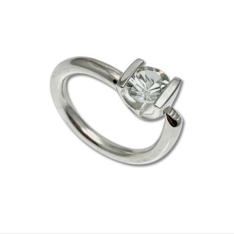 Special Quartz stack ring, light green unique cut gemstone