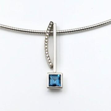 Square blue pendant with diamond curve pendant as one necklace