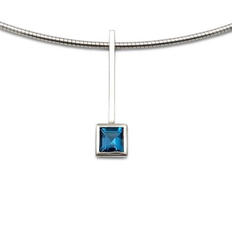 Square blue simple pendant, Blue topaz straight design for combination pendants