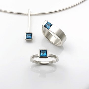 Square blue topaz jewelry collection of rings and pendant