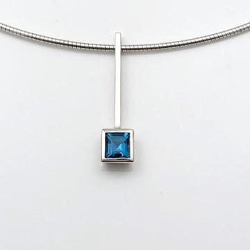 Straight simple pendant with square cut Blue Topaz genuine gemstone