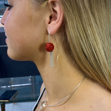 Tassel earring with large red bead