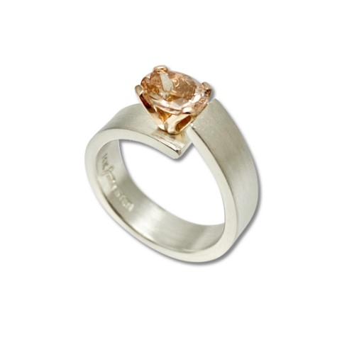 Unlined Pink Morganite ring , silver and rose gold