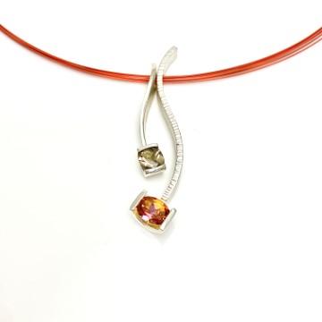 Vibrant Orange and smokey brown gemstones, interchangeble pendants for different look