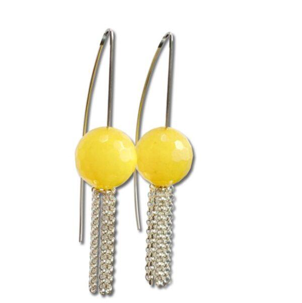 Yellow Jasper tassel earring, large bright yellow bead dangle silver earrings