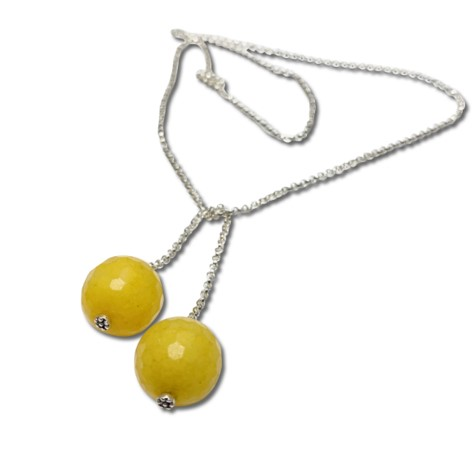 Yellow tie chain necklace, yellow jasper bead for simple color