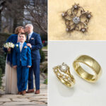 Family brooch became wedding rings, gold and diamonds redesigned wedding ring set, rings far superior