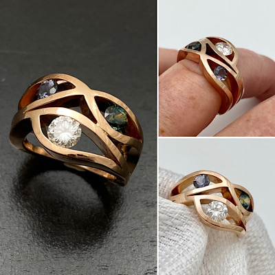 Rose gold wave ring diamond and gemstones