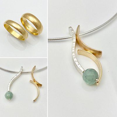 Wedding bands redesigned into pendants for grand daughters