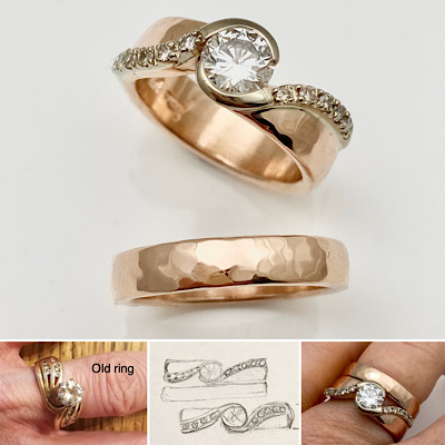 New designed wedding rings, repurposed diamonds