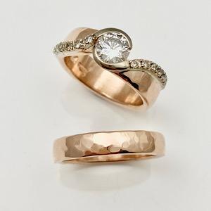 Repurposed diamonds in new updated wedding ring Design