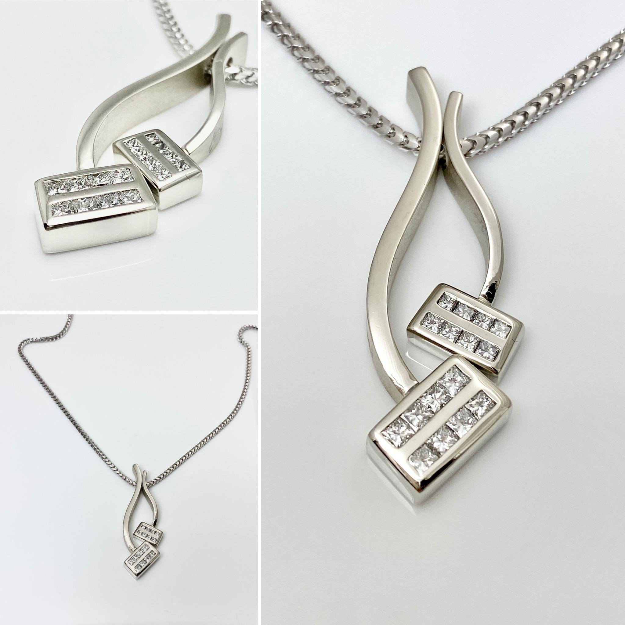 Asymmetrical Balance pendants, in two diamond pendants