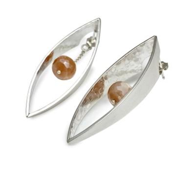 Hidden facets earrings with mystic moonstone earring dangle, interchangeable bead dangle