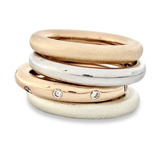 round thick stack rings, gold, silver with optional diamonds flush set
