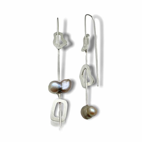 Divergent dangle earrings sterling silver and fresh water pearls