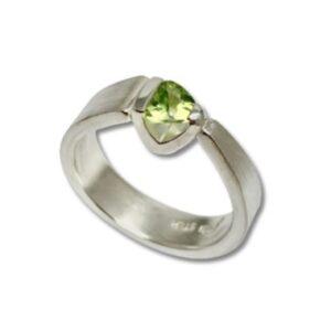 Trillion Peridot Brave Ring green gemstone silver stack ring