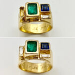 Before & after, broken baguette diamonds replaced in designer ring