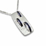 Chanel set sapphire ring mounted on silver pendant, blue sapphire pendant