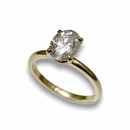 Classic oval solitaire ring, 4 prong setting for diamond engagement ring