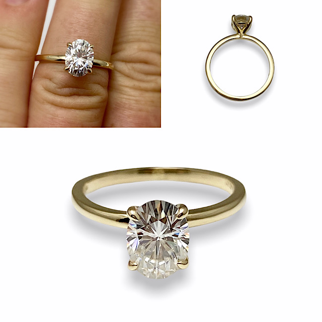 Custom created engagement ring with finding specific diamond on request and design