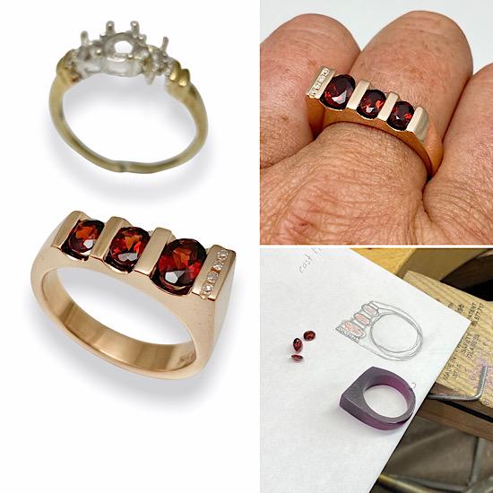 Garnet ring transformed into a modern design rose gold ring