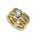Hammered 3 band diamond ring set in half bezel
