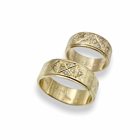 Men's band created after ladies ring design
