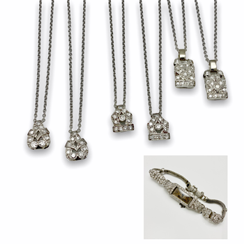 Platinum and diamond watch split up into pendants for all grand daughters